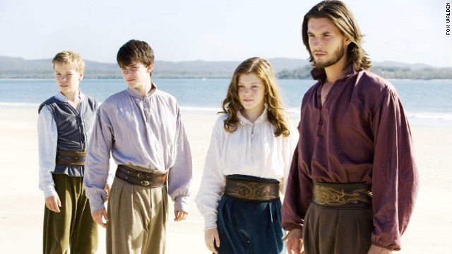 "C.S. Lewis' famous series hit the big screen with ""The Lion, The Witch and the Wardrobe"" in 2005. The franchise continued with ""Prince Caspian"" in 2008 and ""The Voyage of the Dawn Treader"" (pictured) in 2010. ""The Silver Chair"" has been announced, but there is no release date yet. Fans had mixed reactions to the films so far. The first movie grossed $291 million, while the third only netted $104 million. Pictured: Will Poulter, Skandar Keynes, Georgie Henley and Ben Barnes."