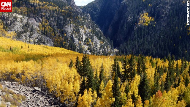 Colorado's aspen trees glow a <a href='http://ireport.cnn.com/docs/DOC-1026294'>bright autumn gold</a> in this shot from the Cumbres & Toltec Scenic Railroad, which runs along the border between Colorado and New Mexico.