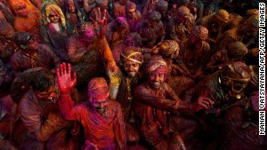 For the Lathmar Holi festival, revelers smear themselves in colored powder. Spare clothes optional.