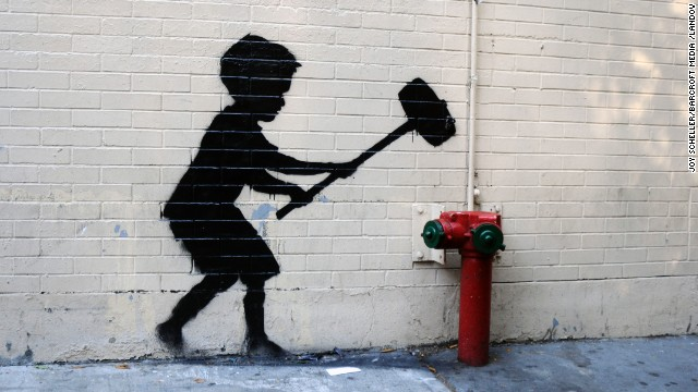 Banksy art is seen on the Upper West Side on October 20.