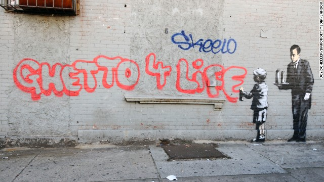 "Banksy's ""Ghetto 4 Life"" appeared in the Bronx on October 21. New York City Mayor Michael Bloomberg has suggested that Banksy is breaking the law with his guerrilla art exhibits, but the New York Police Department has denied it is actively searching for him."