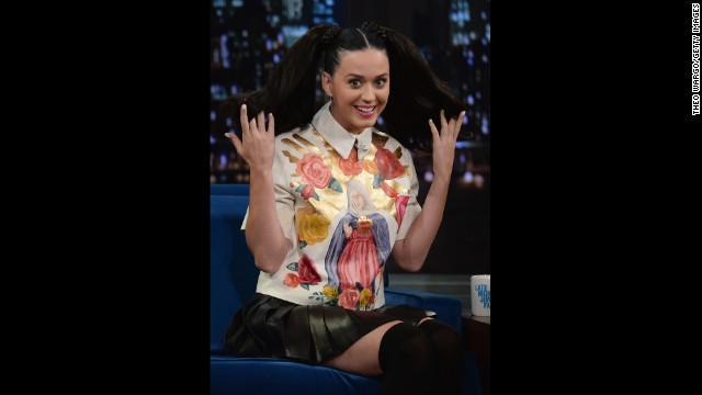 "Katy Perry visits ""Late Night With Jimmy Fallon"" on October 10 in New York City."