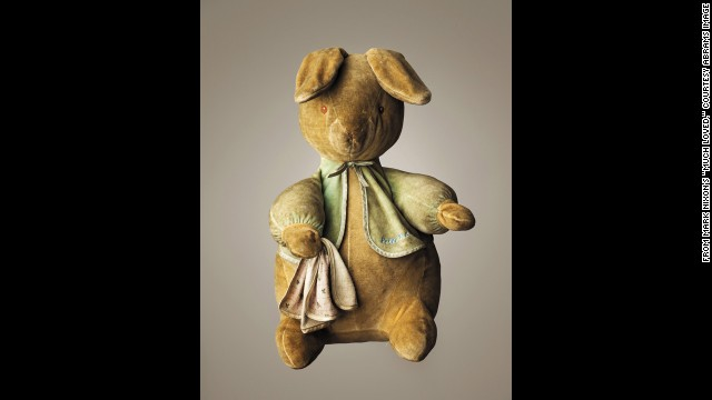 """Much Loved"" by Mark Nixon features photographs of some ""loved to bits"" teddy bears.<!-- --> </br>At left, <strong>Peter Rabbit --</strong><!-- --> </br>Age: 10.<!-- --> </br>Height: 16 inches.<!-- --> </br>Belongs to Calum Nixon."
