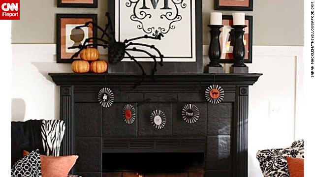 This fireplace is a spooky and inviting Halloween display. <a href='http://ireport.cnn.com/docs/DOC-1051059'>Sarah Macklem</a> dressed it with a little elegance and edginess. You can see more of her designs on her blog, <a href='http://www.theyellowcapecod.com' target='_blank'>The Yellow Cape Cod</a>.