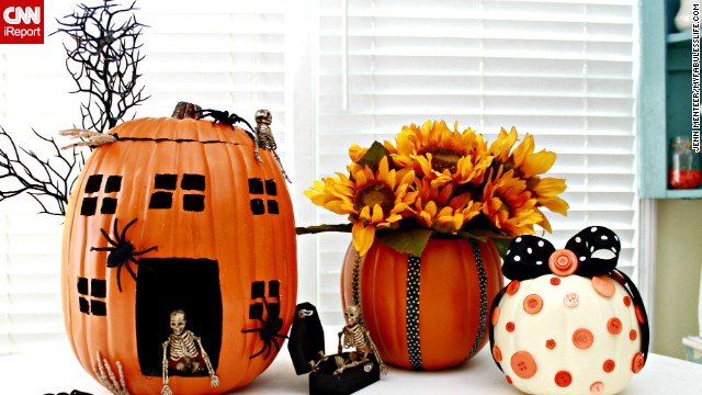 Instead of buying real pumpkins, do-it-yourself blogger Jessica Kielman created resuable pumpkins from Styrofoam. She shares how she made them on her blog, <a href='http://www.mom4real.com/2013/08/pumpkin-decorating-ideas-using-foam-pumpkins-funkins.html' target='_blank'>Mom4Real. </a>