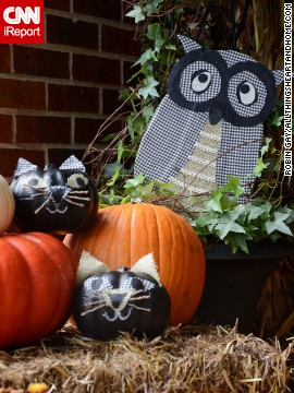 The kitty pumpkins and owl are DIY projects that <a href='http://ireport.cnn.com/docs/DOC-1048970 '>Gay</a> shows how to make on her blog, <a href='http://www.allthingsheartandhome.com/2013/10/08/halloween-outdoor-decorations/' target='_blank'>All Things Heart and Home</a>.