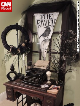 "Poe was a popular theme for Halloween this year. Blogger <a href='http://ireport.cnn.com/docs/DOC-1051000'>Melinda Hartzog</a>'s desk creation was inspired by ""The Raven,"" also."