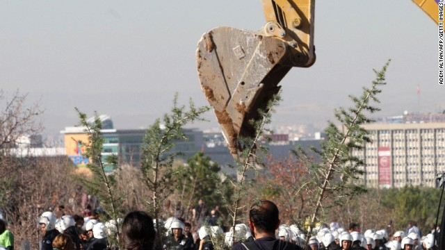 Protesters holding small trees walk towards Turkish police and an excavator on October 21, 2013.