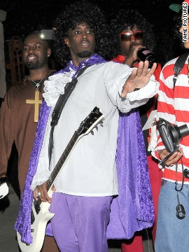 "Soak it in, folks: This is probably the only time you'll see Sean ""P. Diddy"" Combs wearing guyliner. (His Prince costume wouldn't work without it, obviously.)"