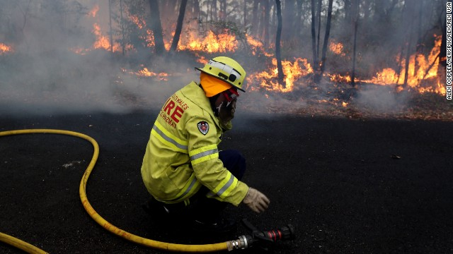 Rural Fire Service firefighters set up a back burn near Springwood in the Blue Mountains on Tuesday,