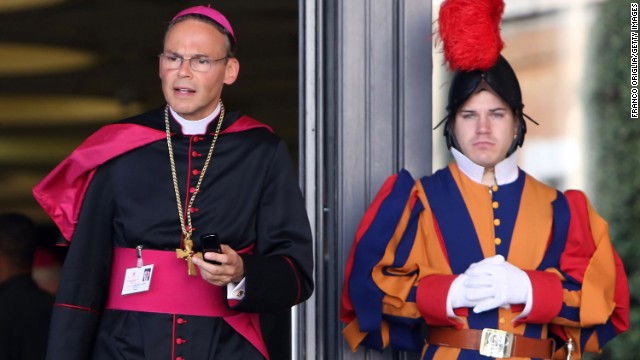 Tebartz-van Elst leaves the Paul VI Hall in Vatican City in October 2012.