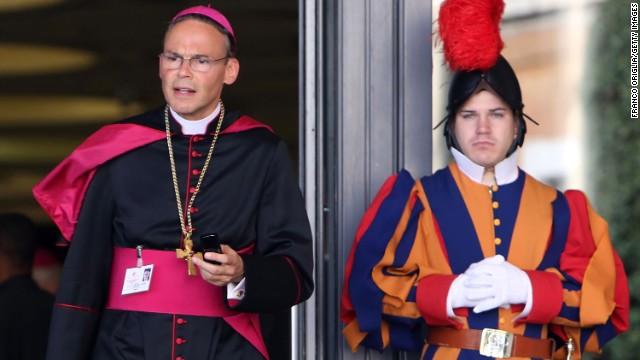 Tebartz-van Elst leaves the Paul VI Hall in Vatican City in October 2012.
