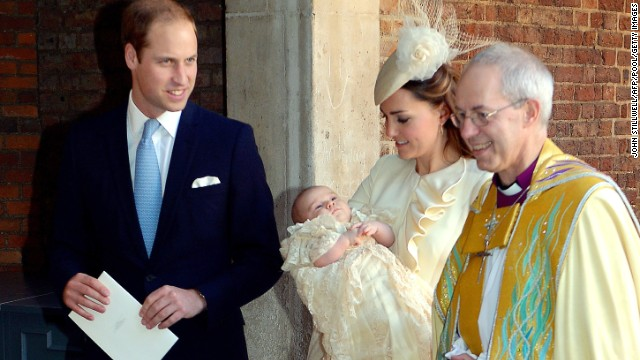 Prince William, Duke of Cambridge and Catherine, Duchess of Cambridge, leave with their son, along with with Archbishop of Canterbury Justin Welby after the christening.