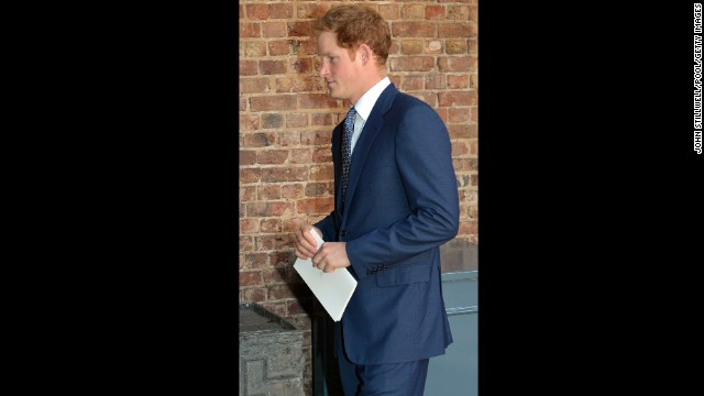 Prince Harry leaves St. James' Palace.