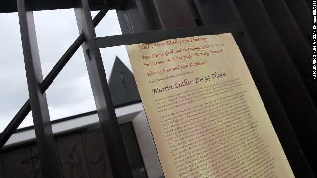 A paper addressed to Tebartz-van Elst and referring to German theologian Martin Luther is posted at his chapel on October 13.