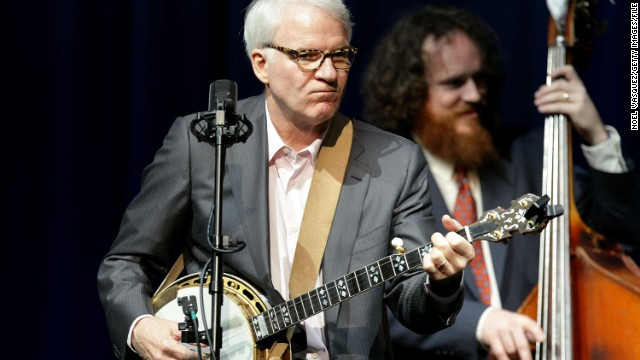 Steve Martin escapes from acting in movies by performing as a bluegrass musician. He plays banjo -- sometimes with the Steep Canyon Rangers -- and even created the Steve Martin Prize for Excellence in Banjo and Bluegrass.