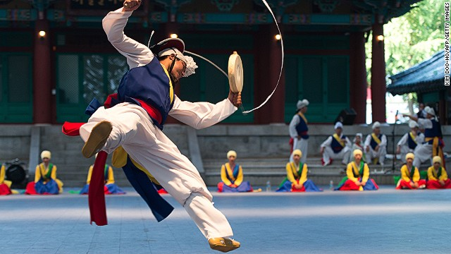 Chuseok is one of the most important holidays on the Korean calendar (both North and South). The three-day event coincides with the autumnal equinox, and is a time when many Koreans visit their families. It is also common to revive folk traditions, such as the tradition jumping dance, poongmul (pictured).