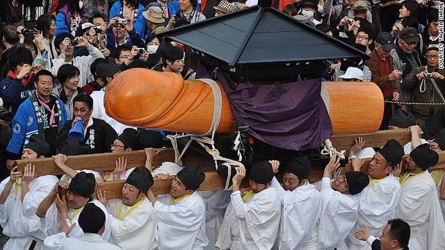 In the Japanese town of Komaki, the Autumn bounty is preceded by Honen Matsuri -- or the fertility festival. Shinto priests bless a massive wooden phallus, which they offer to the gods in exchange for a fruitful season.
