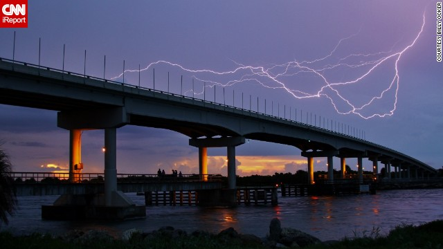 Lightning strikes near Florida's Sebastian Inlet at sunset.