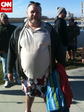 "But Hyatt has never turned down a challenge. This photo was taken at the Penguin Plunge in Ottawa, Illinois, on January 7, 2012. ""The guys I worked with said I would never jump in the freezing water. This should've been their first indication that I could do anything I set my mind to."""