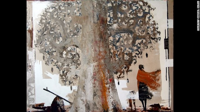 "Gabriel Eklou: ""Baobab in the Wind."" Eklou's work often features tall figures walking through an African landscape."