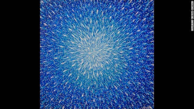 "Kobina Nyarko: ""Spread,"" 2007. Nyarko has become well known for his paintings of countless tiny fish on large canvasses, which are reminiscent of abstract expressionism."