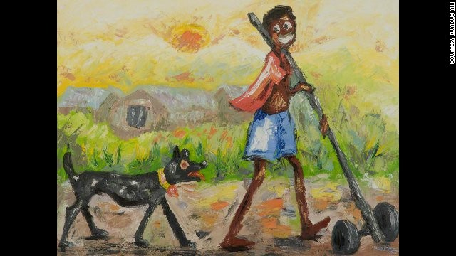 Kwadwo Ani is known for painting wide-eyed characters in everyday situations, contrasting social problems with apparent childlike simplicity.
