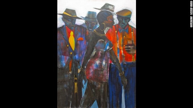 "Larry Otoo: ""Swagger,"" 2010. Otoo, who once described himself a ""contemporary traditionalist,"" uses paintings to document contemporary social life in West Africa."