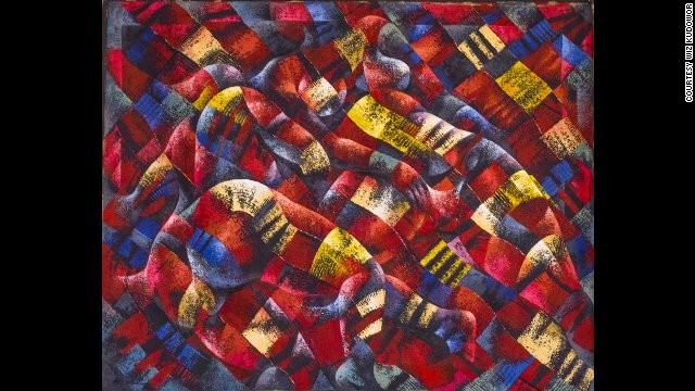 "Wiz Kudowor: ""Anatomy and a Fabric,"" 2005.<!-- --> </br>While drawing upon Ghana's artistic tradition and cultural symbols, Kudowor has developed a style reminiscent of cubism and futurism."