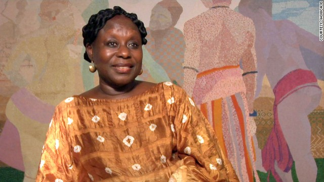 Akufo-Addo has an unusual painting technique, using tiny squares to form the structural basis of her paintings