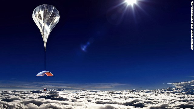 The space capsule is lifted by a high altitude balloon to about 30 kilometers, around three times as high as a passenger reaches on commercial airplane flights.