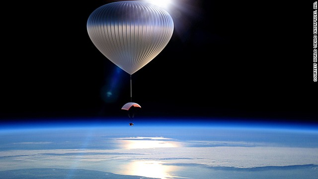 Arizona-based World View Enterprises plans to take travelers to the edge of space with a balloon and thinks it will look something like this.