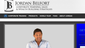 The web page for Jordan Belfort\'s sales training business.