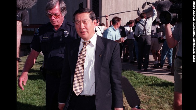 Forensics expert Henry Lee leaves a conference on the University of Colorado campus after meeting with Boulder and Colorado law enforcement officials to review the evidence in the Ramsey case in June 1998.