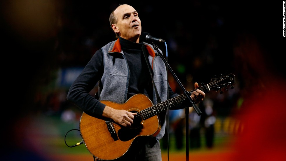 "At the World Series game on October 24, it was James Taylor who had the save of the night. The singer was there to lead the stadium in the national anthem, but instead of ""The Star-Spangled Banner,"" he began singing ""America the Beautiful."" He's not the only star who's been caught in an awkward patriotic moment:"