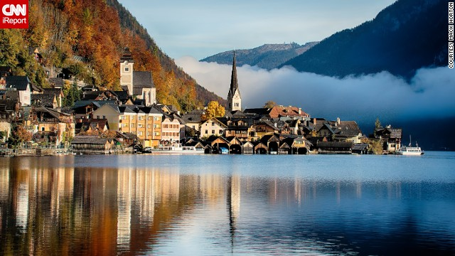 Autumn colors and mist provide a stunning backdrop to the village of Hallstatt.