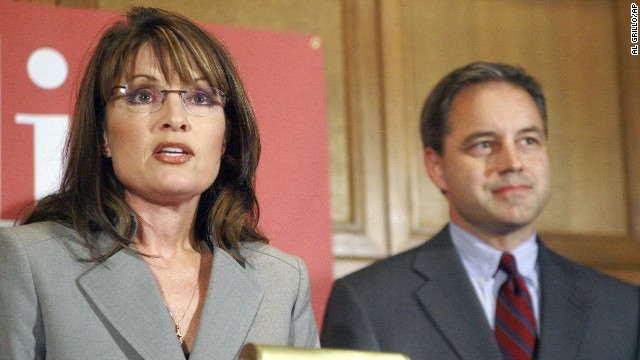 Gubernatorial candidate Sarah Palin stands beside then-Republican candidate for lieutenant governor Sean Parnell as they talk about their plan for a natural gas pipeline during a news conference in Anchorage. Parnell became governor when Palin stepped down in July 2009.
