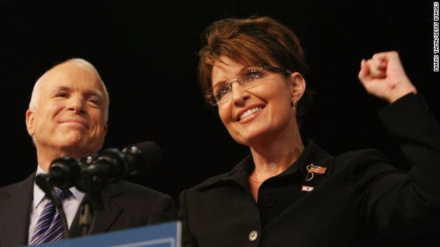 Republican presidential candidate John McCain stands with newly announced running mate Sarah Palin in August 2008 in Dayton, Ohio. McCain made the Palin announcement the day after Barack Obama accepted the Democratic presidential nomination.