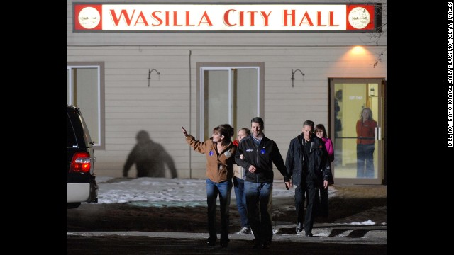 Sarah Palin and her husband, Todd, leave City Hall after she voted in her hometown of Wasilla on Election Day in November 2008. The Palins then flew to Arizona to join presidential candidate John McCain.
