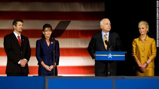 Sarah Palin and her husband, Todd, join Republican presidential candidate Sen. John McCain and his wife Cindy as McCain concedes the presidential race to Democrat Barack Obama in November 2008.