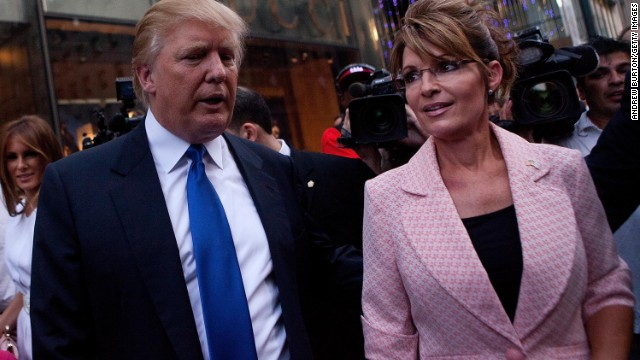 Sarah Palin and Donald Trump walk toward a limo after leaving Trump Tower for a dinner meeting in the city in May 2011 during the Palin bus tour that fueled speculation she would run for president the next year. She didn't.