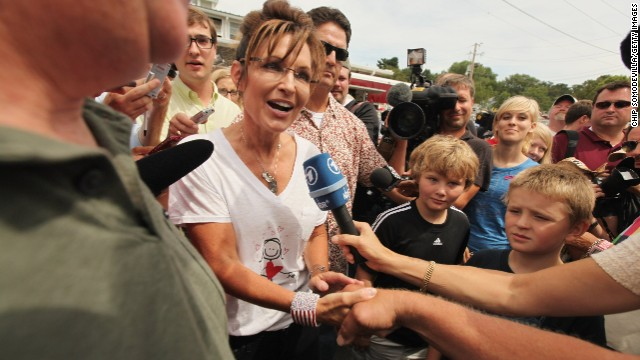 "Sarah Palin was mobbed at the Iowa State Fair in Des Moines in August 2011, a familiar campaign stop for presidential hopefuls, during her ""One Nation"" bus tour."