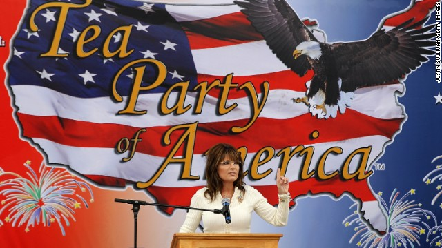 "Sarah Palin speaks during the Tea Party of America's ""Restoring America"" event in September 2011 in Iowa. Supporters had hoped that she would use the event to announce that she was running for president."