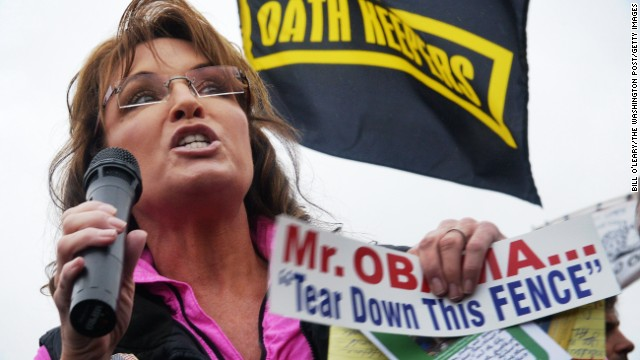 Sarah Palin fires up a rally of veterans, their families and supporters at the World War II Memorial in Washington during the partial government shutdown in October 2013.
