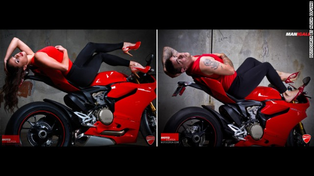 "Portland, Oregon, Ducati dealership MotoCorsa shot these ""girl on bike"" images in 2012 to promote the Ducati 1199 Panigale. A few months later, it re-created the shoot using male MotoCorsa employees in identical outfits. Click through the gallery to see who wore them better:"