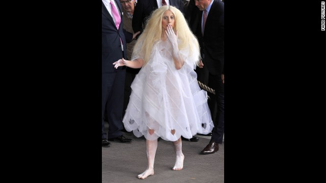 On October 24, Lady Gaga went with an all-white look -- sans footwear -- while in Berlin on October 24.