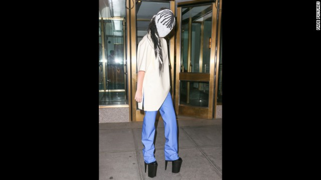 Gaga stays under cover with a mask while in New York on September 7.