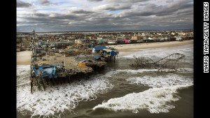 The boardwalk and amusement park in Seaside Heights, New Jersey is shown destroyed by Superstorm Sandy on October 31, 2012.