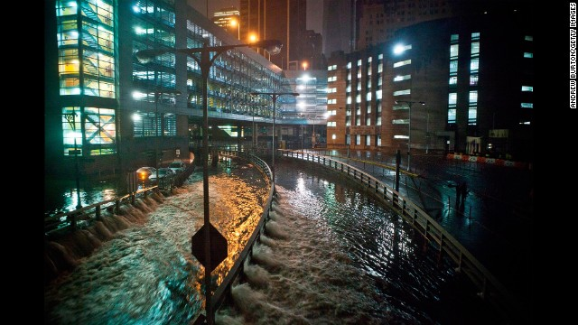 Rising water caused by Superstorm Sandy rushes into the Hugh L. Carey (formerly Brooklyn-Battery) Tunnel in New York City on October 29, 2012.