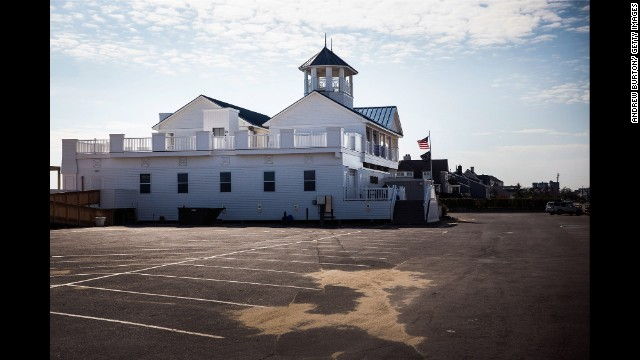A cleaned-up Monmouth Beach pavilion is seen on October 22.